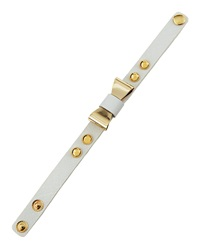 Panacea Golden Bow And Stud Leather Bracelet White