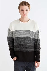 Urban Outfitters Gradient Stripe Boxy Crew Neck Sweater Cream