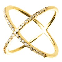 Sterling Forever Gold Criss Cross Ring Silver