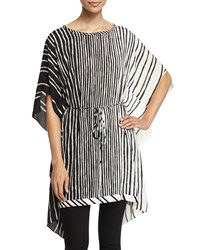 Halston Heritage Short Sleeve Striped Caftan Black Bone Black Ivory