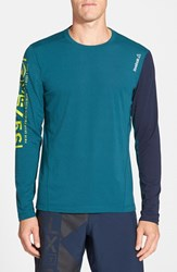 Men's Reebok 'One Series Breeze' Long Sleeve Playice Graphic T Shirt Deep Teal