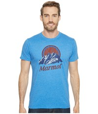 Marmot Short Sleeve Pikes Peak Tee New Royal Heather T Shirt Blue