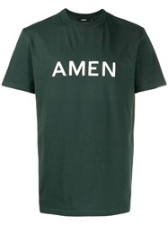 Amen Logo Crew Neck T Shirt Green