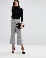 Mango Check Print Cropped Trousers Multi