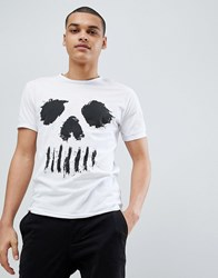 Solid T Shirt With Skull Face White