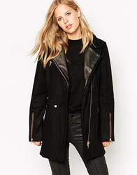 Eleven Paris Woven Coat With Zip Detail Black