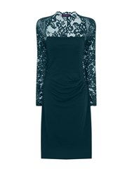 Hotsquash Lace Sleeved Dress In Clever Fabric Emerald