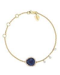 Meira T 14K Yellow And White Gold Sapphire Bracelet With Diamonds Blue Gold