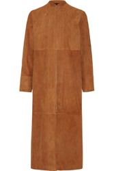 The Row Luri Paneled Suede Coat Camel