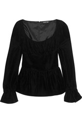 Tom Ford Velvet Peplum Top Black