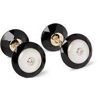 Trianon 18 Karat Gold Onyx Mother Of Pearl And Diamond Cufflinks Black