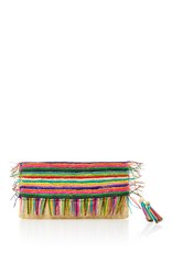 Sensi Studio Rainbow Fringe Clutch Green Yellow Pink