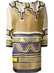 Alberta Ferretti Printed Tunic Nude And Neutrals