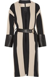 Petar Petrov Leather Trimmed Striped Cotton Burlap Coat Black
