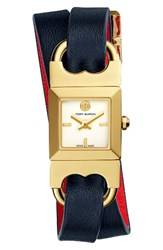 Tory Burch Women's Double T Link Reversible Wrap Leather Strap Watch 19Mm X 23Mm