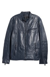 Andrew Marc New York Quilted Leather Moto Jacket Navy