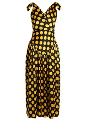 Duro Olowu Large Polka Dot Print Silk Satin Gown Black Yellow