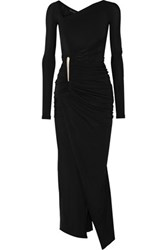 Donna Karan New York Asymmetric Ruched Stretch Jersey Gown Black