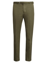 Valentino Slim Fit Belted Cotton Trousers Green
