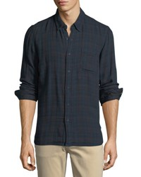Velvet Windowpane Plaid Flannel Sport Shirt Blue