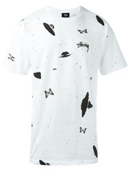 Stussy Galaxy Print T Shirt White