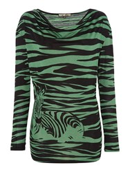 Biba Cowl Neck Zebra Print Long Sleeve T Shirt Multi Coloured Multi Coloured