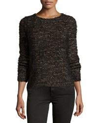 Max Studio Long Sleeve Cozy Knit Sweater Black Cafe