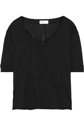Ag Jeans Pointelle Detailed Cotton And Modal Blend Jersey T Shirt