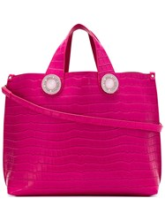 Versace Croc Effect Tote Bag Women Polyester Synthetic Resin One Size Pink Purple