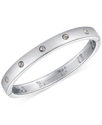 Guess Silver Tone Crystal Hinged Bracelet
