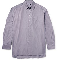 Raf Simons Oversized Striped Cotton Poplin Shirt Gray