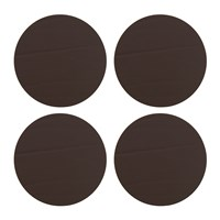 Amara Round Leather Coasters Set Of 4 Taupe