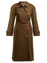 435ee6ebb75b0f Burberry Westminster Double Breasted Gabardine Trench Coat Dark Green