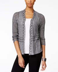 Ny Collection Pointelle Knit Cardigan Only At Macy's Black White Marled