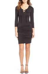 Velvet By Graham And Spencer Women's Gauze Lace Up Body Con Dress