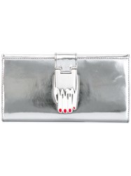 Opening Ceremony Metallic Grey Elongated Wallet