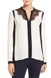 Tahari Women's Elie 'Denise' Lace Trim Colorblock Silk Blouse