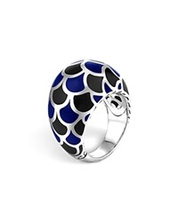 John Hardy Naga Sterling Silver Enamel Dome Ring With Black And Blue Enamel