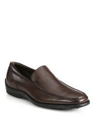 Tod's Quinn Matte Leather Loafers Dark Brown