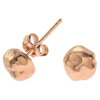 Dower And Hall Nomad Textured Nugget Vermeil Stud Earrings Rose Gold