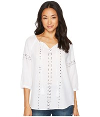 Tribal 3 4 Raglan Sleeve Embellished Blouse White