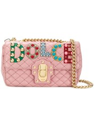 Dolce And Gabbana Lucia Quilted Shoulder Bag Lamb Skin Pink Purple