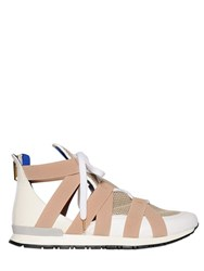 Vionnet 20Mm Elastic And Leather High Top Sneakers