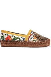 Dolce And Gabbana Maiolica Printed Canvas Espadrilles Yellow