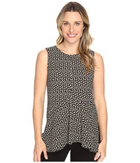 Vince Camuto Sleeveless Deco Layer Dots Ruffle Front Blouse Rich Black Women's Blouse