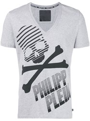 Philipp Plein Printed V Neck T Shirt Men Cotton S Grey