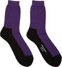 Comme Des Garcons Black And Purple Colorblocked Socks