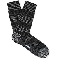 Missoni Crochet Knit Cotton Blend Socks Black