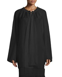 The Row Spira Long Sleeve Ruched Neck Silk Blouse Black Women's