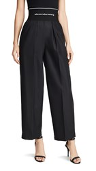 Alexander Wang Cotton Trench Trousers With Logo Elastic Waistband Black
